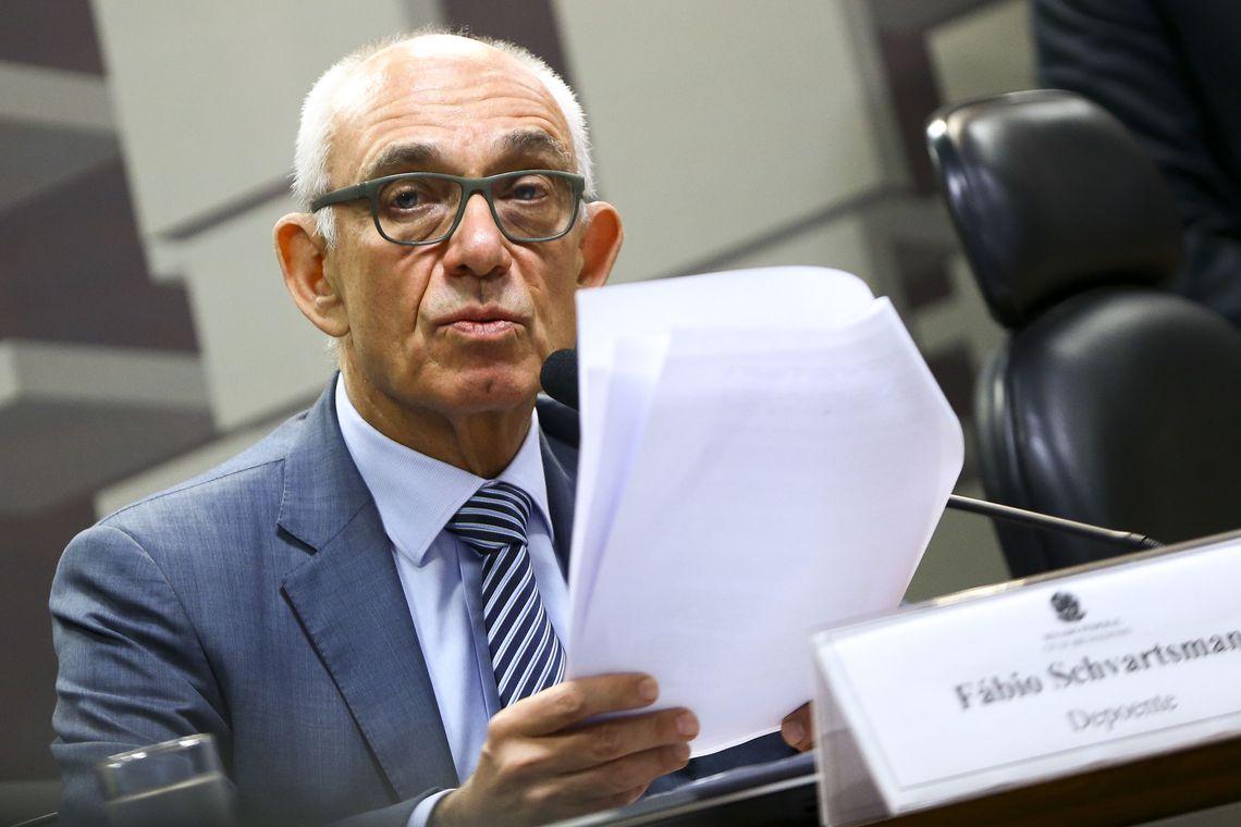 O ex-presidente da Vale, Fábio Schvartsman, durante depoimento na Comissão Parlamentar de Inquérito do Senado que apura as causas do rompimento da barragem na Mina Córrego do Feijão, em Brumadinho